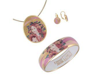 Faragó Nyár porcelán arannyal festett medál franciakapcsos fülbevalóval, karkötővel