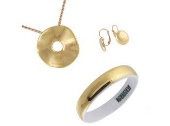 Simple arany porcelán hulámos medál franciakapcsos fülbe