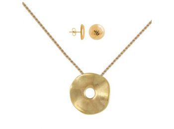 Simple arany porcelán hullámos medál bedugós fülbevaló