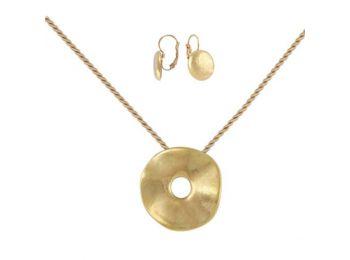 Simple arany porcelán hullámos medál franciakapcsos fülb