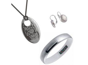 Simple platina porcelán ovális medál franciakapcsos fülb