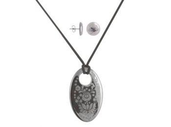 Simple platina porcelán ovális medál bedugós fülbevaló