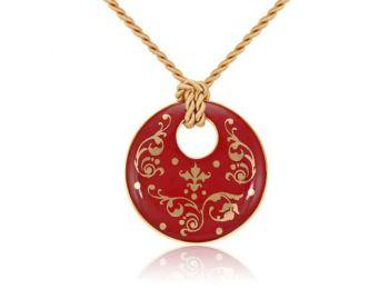 Piros barokk kerek medál