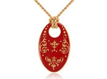 Piros barokk ovális medál