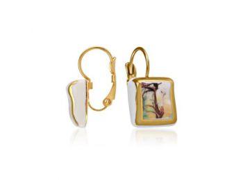 Csontváry arannyal festett porcelán franciakapcsos fülbev