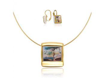 Csontváry arannyal festett porcelán négyzetes medál franciakapcsos fülbevalóval