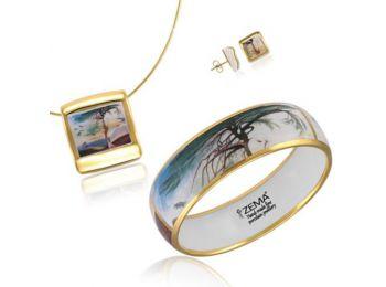 Csontváry arannyal festett porcelán négyzetes medál bedugós fülbevalóval, karkötővel