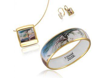 Csontváry arannyal festett porcelán négyzetes medál franciakapcsos fülbevalóval, karkötővel