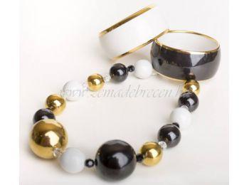 Fekete-fehér-arany porcelán gombócos nyaklánc karkötővel
