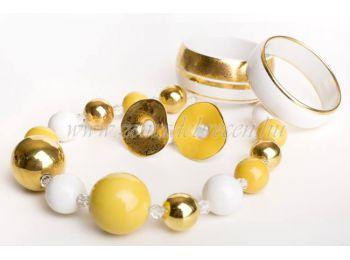 Fehér-sárga-arany gombócos porcelán szett
