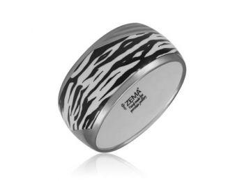 Zebra mintás finomporcelán karperec (vastag)