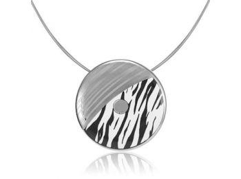 Zebra mintás finomporcelán medál (nagy)
