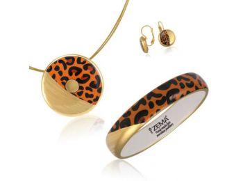 Leopárd mintás nagy medál, francia kapcsos fülbevalóval, keskeny karpereccel