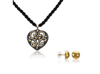 Aero fekete arany szív medál bedugós arany lencse fülbev