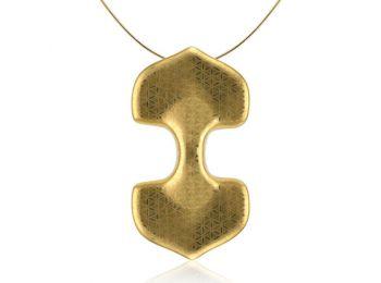 Minimál arannyal festett dupla porcelán medál