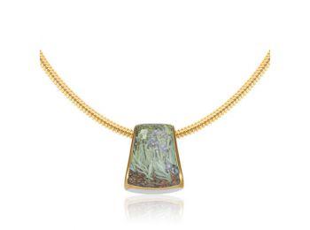 Van Gogh arannyal festett porcelán kis medál aranyozott ez