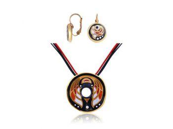 Piros Art deco hullámos medál franciakapcsos fülbevalóva