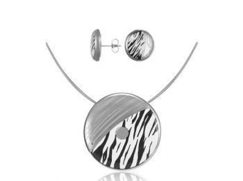 Zebra mintás nagy medál bedugós fülbevalóval