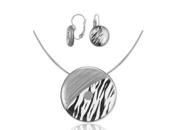 Zebra mintás nagy medál, francia kapcsos fülbevalóval