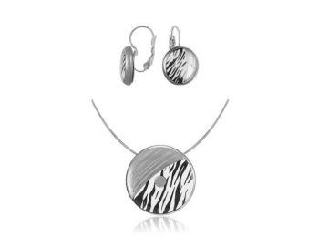 Zebra mintás kicsi medál, francia kapcsos fülbevalóval
