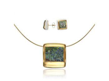 Van Gogh arannyal festett porcelán négyzetes medál bedug�