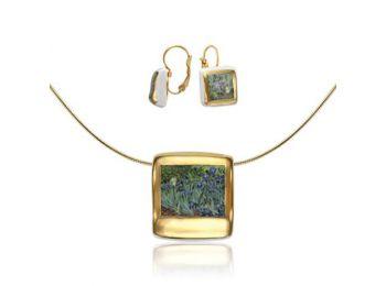 Van Gogh arannyal festett porcelán négyzetes medál franci