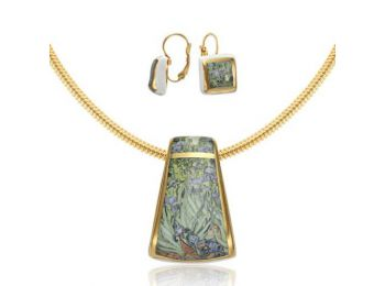 Van Gogh arannyal festett porcelán nagy medál francia kapc
