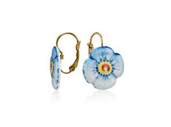 Kék nefelejcs porcelán fülbevaló (francia kapcsos)