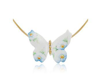 Kék nefelejcs pillangó alakú porcelán medál