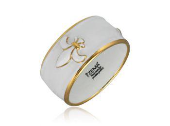 Királyliliom arannyal festett porcelán karkötő (széles)