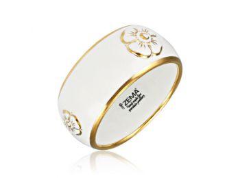 Nefelejcs arannyal festett porcelán karkötő