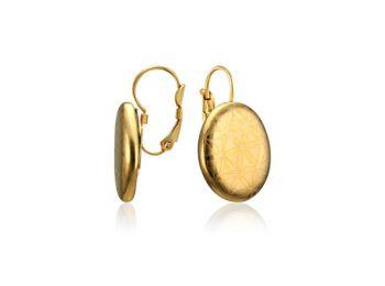 Bronzkori minimal arannyal festett ovális porcelán fülbev