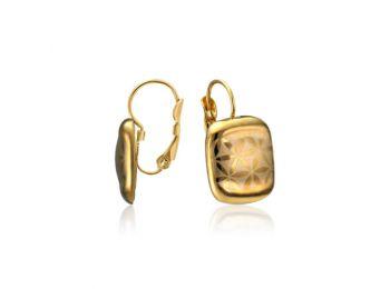 Minimal arannyal festett szögletes porcelán fülbevaló (f