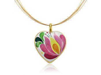 Rózsaszín aranyozott matyó szív alakú medál