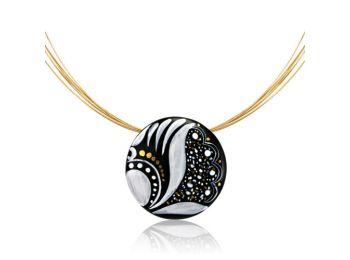 Fekete sárközi kis kerek medál