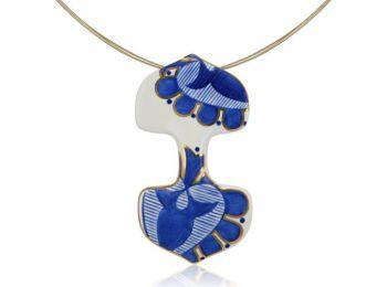Kék mintás sárközi dupla medál