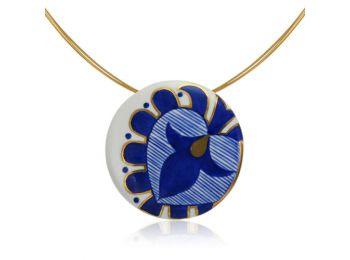 Kék mintás sárközi nagy kerek medál