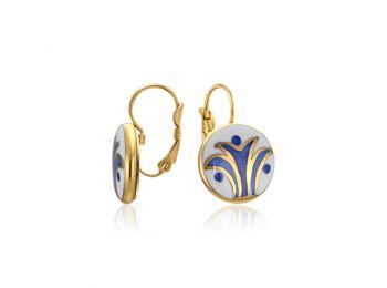 Kék mintás sárközi fülbevaló (francia kapcsos)