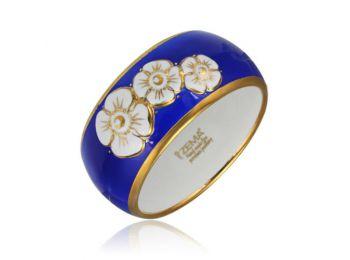 Nefelejcs arannyal festett kék porcelán karkötő