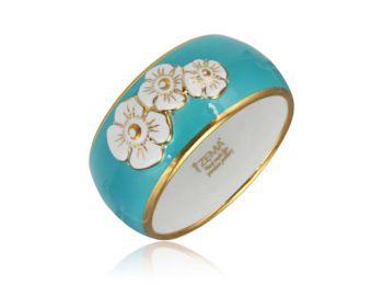 Nefelejcs arannyal festett türkiz porcelán karkötő