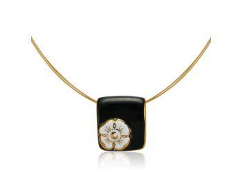 Nefelejcs arannyal festett fekete porcelán medál