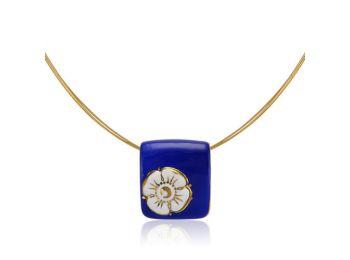 Nefelejcs arannyal festett kék porcelán medál