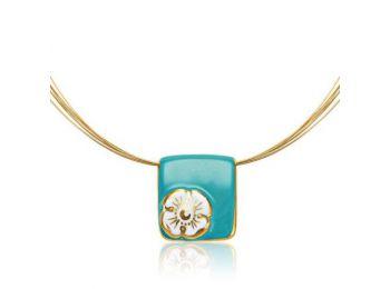 Nefelejcs arannyal festett türkiz porcelán medál