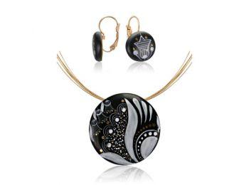 Fekete sárközi nagy kerek medál franciakapcsos fülbevalóval