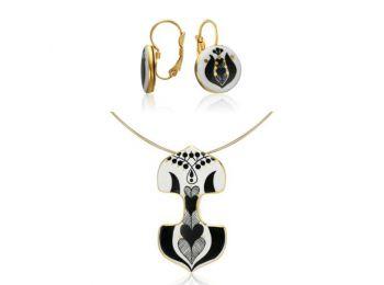 Fekete mintás sárközi dupla medál franciakapcsos fülbev
