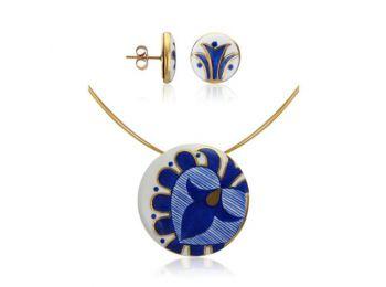 Kék mintás sárközi nagy kerek medál bedugós fülbeval�