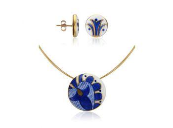 Kék mintás sárközi kis kerek medál bedugós fülbevaló