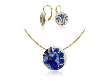 Kék mintás sárközi kis kerek medál franciakapcsos fülb