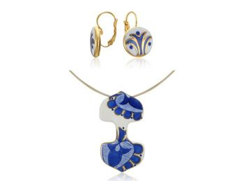 Kék mintás sárközi dupla medál franciakapcsos fülbeval