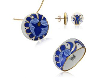 Kék mintás sárközi nagy kerek medál bedugós fülbevalóval és karkötővel